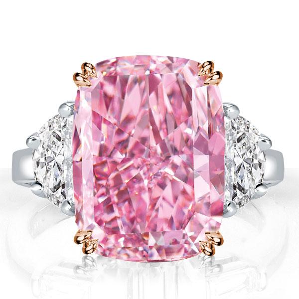 Three Stone Cushion Created Pink Sapphire Engagement Ring