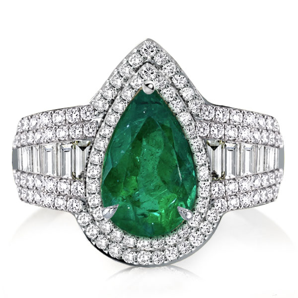 Halo Pear Cut Green Sapphire Engagement Ring, White