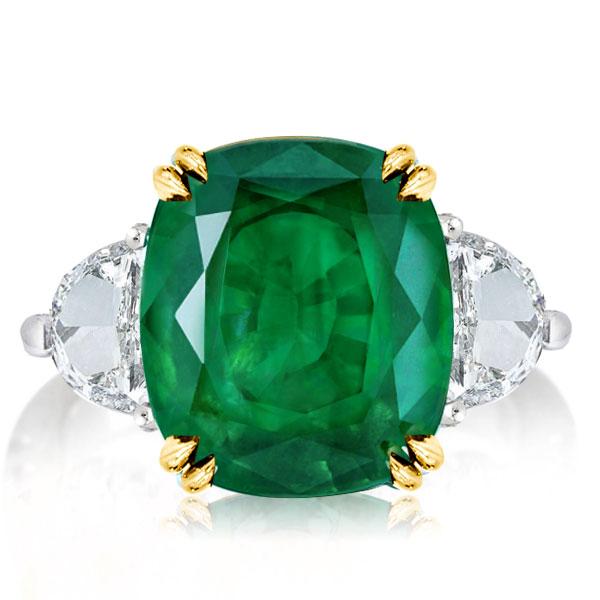 Three Stone Cushion Cut Created Emerald Engagement Ring, White