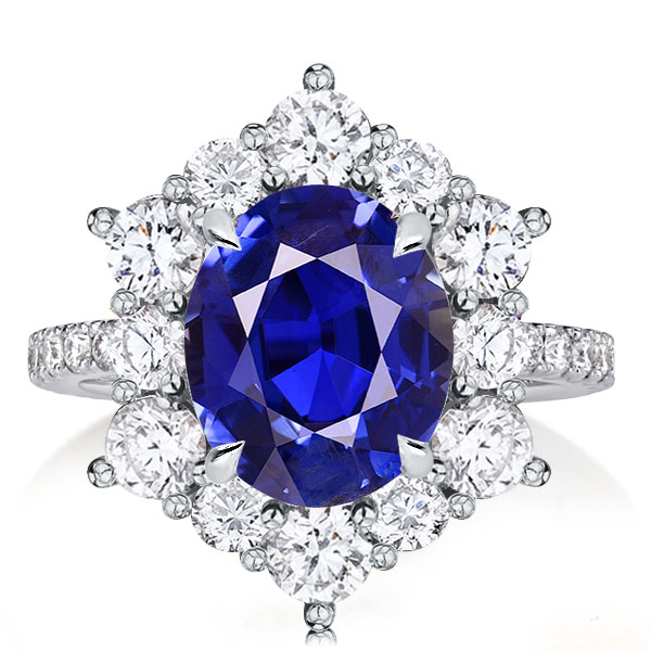 Halo Oval Created Sapphire Engagement Ring, White