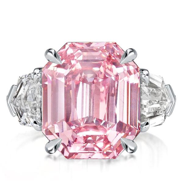 Three Stone Pink Emerald Cut Engagement Ring, White