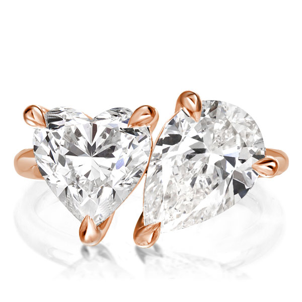 Pear & Heart Cut Twin Stone Engagement Ring, White