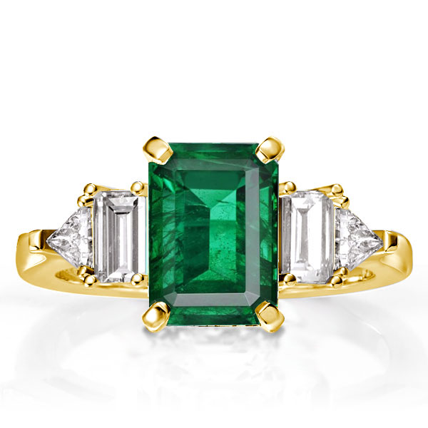Emerald Cut Green Double Side Stones Golden Engagement Ring, White