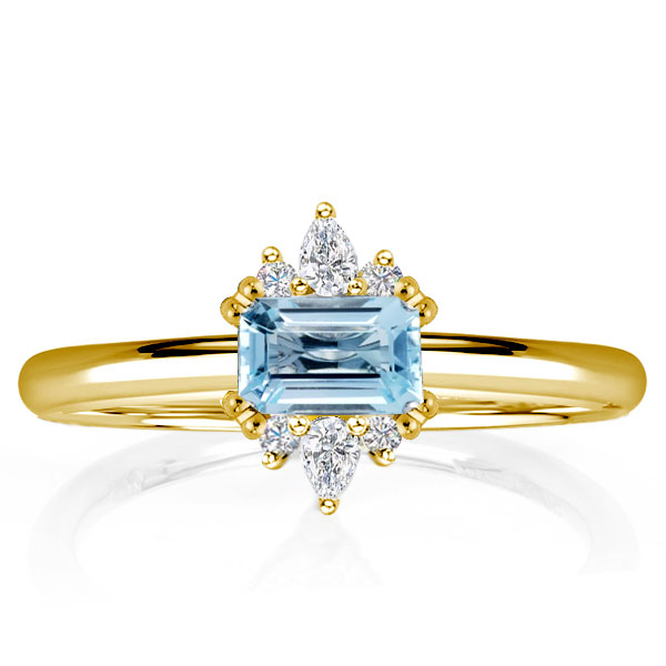 Golden East West Emerald Aquamarine Engagement Ring, White