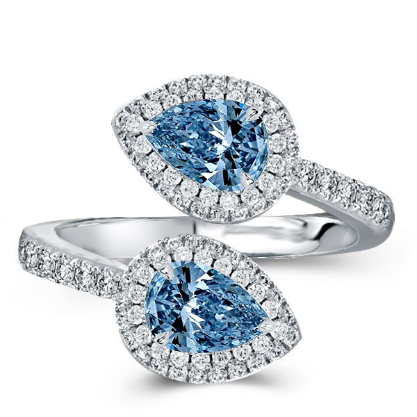 Halo Pear Cut Twin Stone Engagement Ring