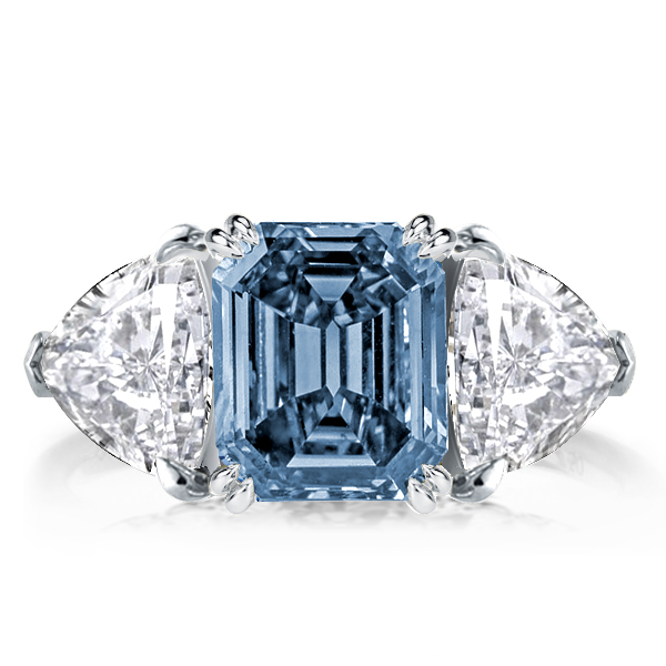 Three Stone Emerlad Blue Topaz Engagement Ring