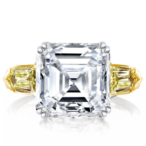 Three Stone Asscher Cut White & Yellow Sapphire Engagement Ring