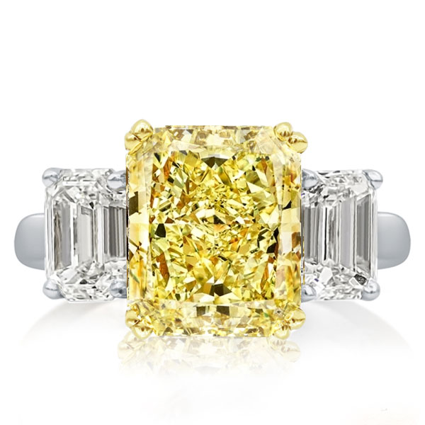 Two Tone Three Stone Radiant Cut Yellow Sapphire Engagement Ring, White