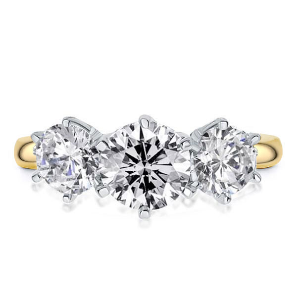Two Tone Three Stone Six-prong Engagement Ring