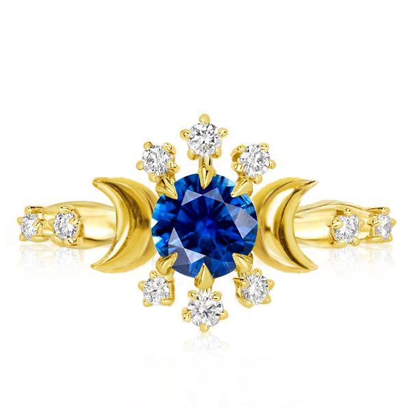 Golden Moon & Stars Created Sapphire Engagement Ring