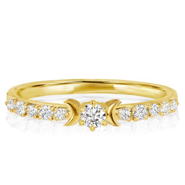 Dainty Golden Moon & Stars Engagement Ring