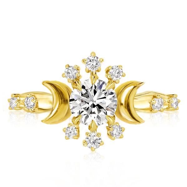 Golden Moon & Stars Engagement Ring