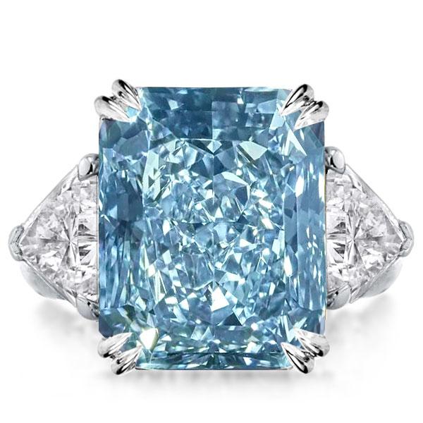 Three Stone Radiant Cut Created Blue Topaz Engagement Ring