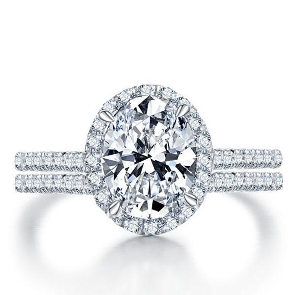 Italo Halo Oval Created White Sapphire Bridal Set