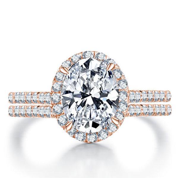 Italo Rose Gold Halo Oval Created White Sapphire Bridal Set