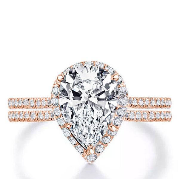 Italo Rose Gold Halo Pear Created White Sapphire Bridal Set