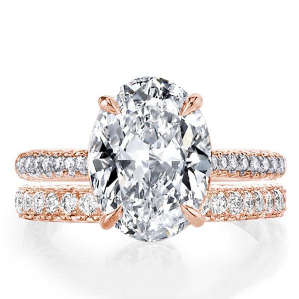 Italo Rose Gold Classic Oval Created White Sapphire Bridal Set