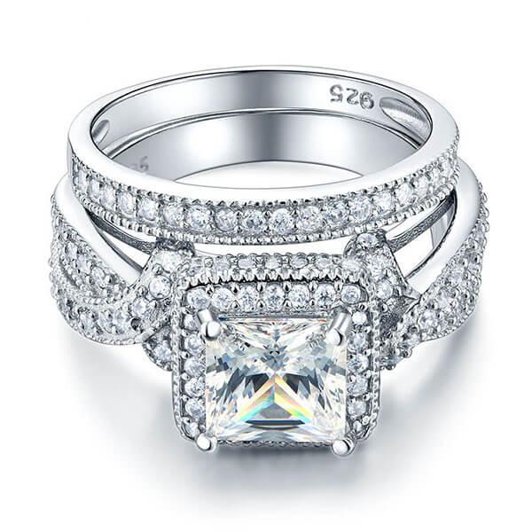 Italo Halo Twist Created White Sapphire Bridal Set