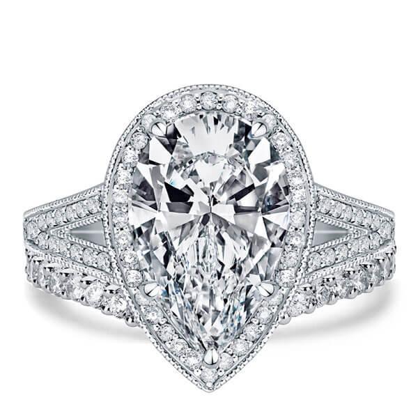 Italo Split Shank Halo Created White Sapphire Bridal Set