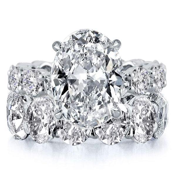 Italo Oval Eternity Created White Sapphire Bridal Set