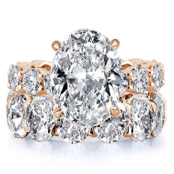 Oval Eternity Rose Gold Created White Sapphire Bridal Set