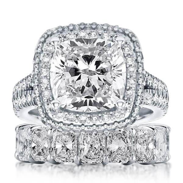 Italo Halo Split Shank Created White Sapphire Bridal Set