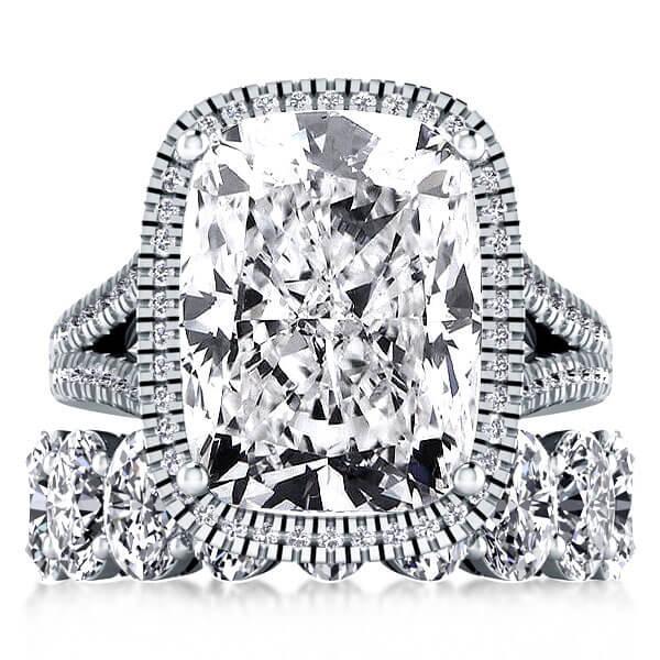 Halo Split Shank Created White Sapphire Bridal Set