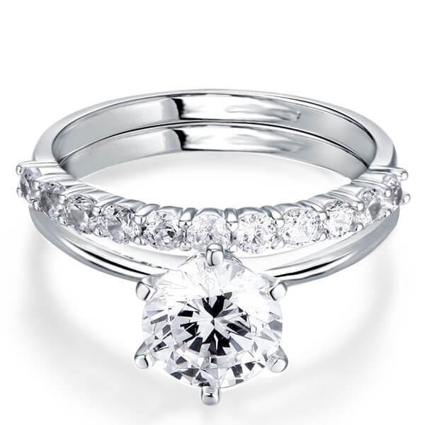 Italo Classic Solitaire Created White Sapphire Bridal Set