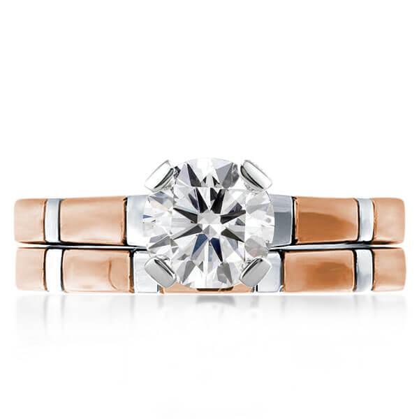 Solitaire Two Tone Rose Gold Brick Design Bridal Set, White