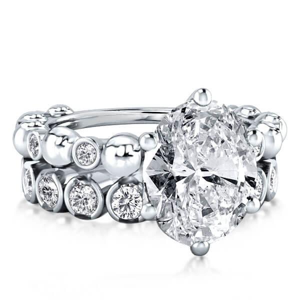 Half Bezel Created White Sapphire Bridal Set (4.68 CT. TW.)