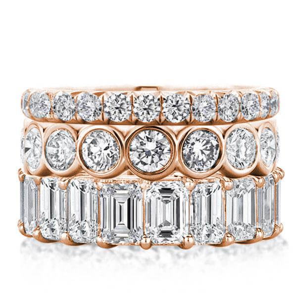 Rose Gold Triple Row Eternity Stackable Band Set, White