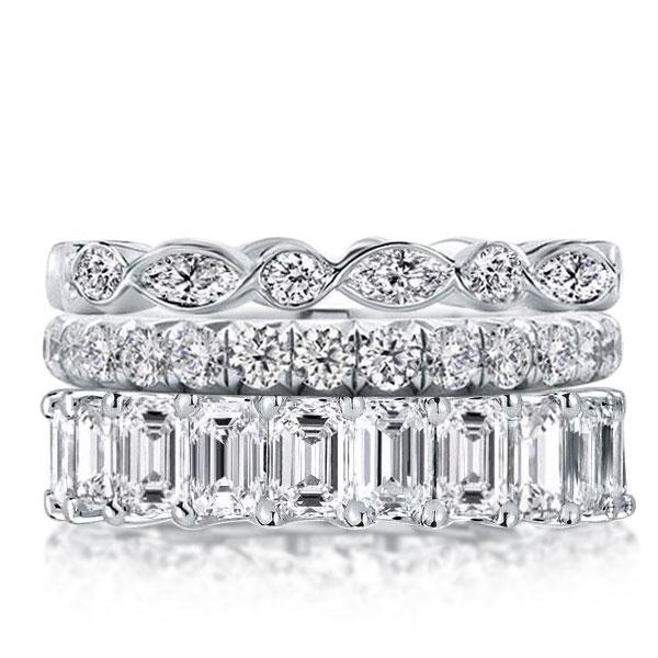 Triple Row Eternity Stackable Band Set, White