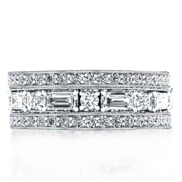 Classic Triple Row Eternity Stackable Band Set, White
