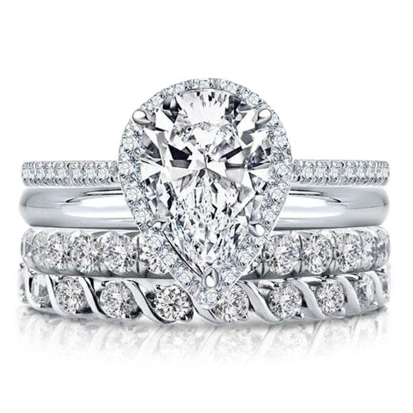 Halo Pear Created White Sapphire Bridal Set