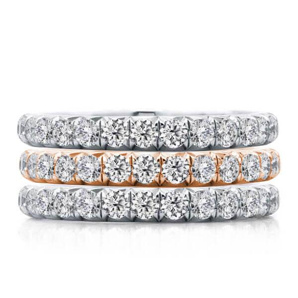Eternity Two Tone Stackable Band Set, White