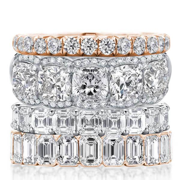 Four Row Two Tone Stackable Band Set (18.15 CT. TW.), White
