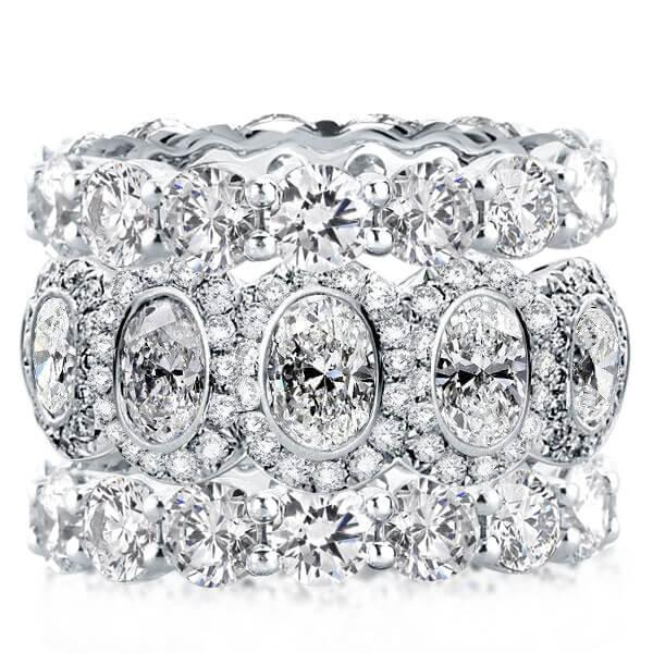Triple Row Stackable Band Set (18.00 CT. TW.), White