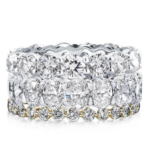 Eternity Triple Row Two Tone Stackable Band Set (46.20 CT. TW.), White