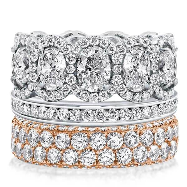 Two Tone Channel Setting Enternity Stackable Band Set (11.53 CT. TW.), White
