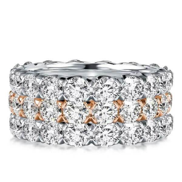 Two Tone Eternity Stackable Band Set (8.40 CT. TW.), White