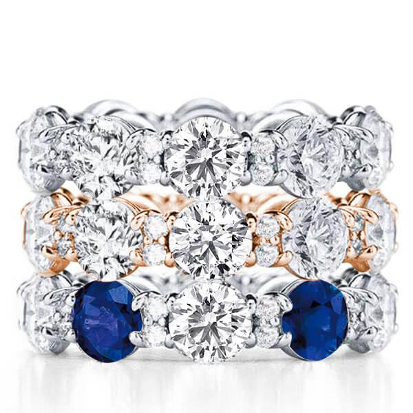Eternity Two Tone Stackable Band Set (16.50 CT. TW.), White