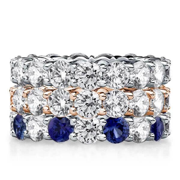 Eternity Wave Two Tone Stackable Band Set (4.32 CT. TW.), White