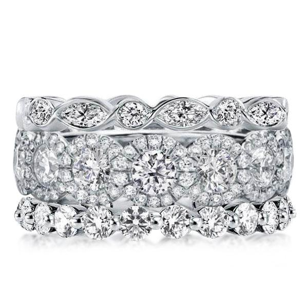 Eternity Halo Stackable Band Set (8.55 CT. TW.), White