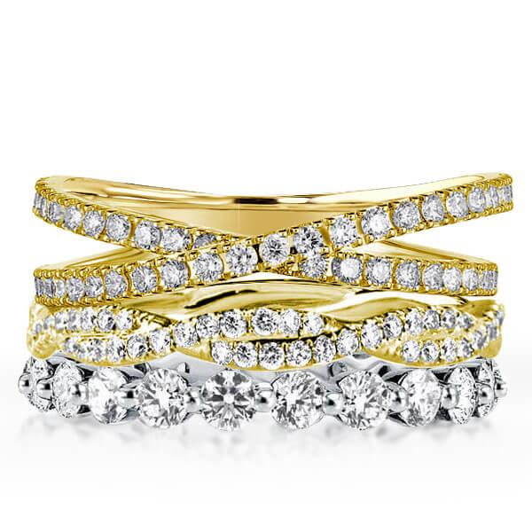 Two Tone Twist Cross Stackable Band Set (4.30 CT. TW.), White