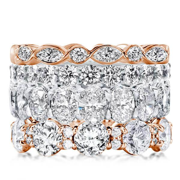 Two Tone Stackable Band Set (47.24 CT. TW.), White