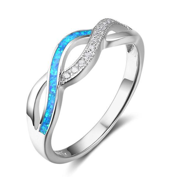 Twist Created Opal Wedding Band, White