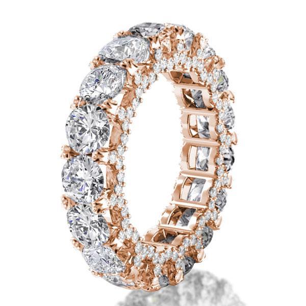Rose Gold Eternity Double Prong Wedding Band, White