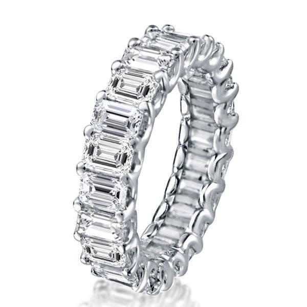 Emerald U Prong Eternity Wedding Band, White