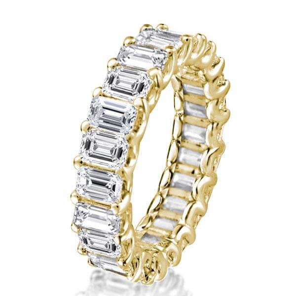 Golden Emerald U Prong Eternity Wedding Band, White