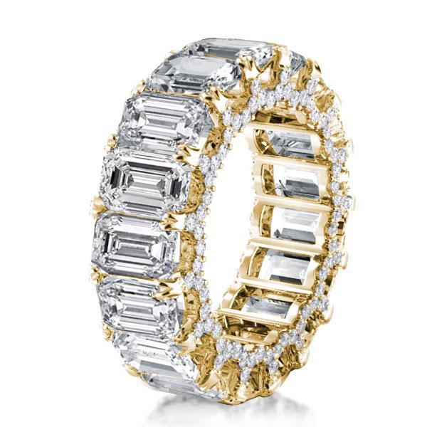 Golden Eternity Double Prong Emerald Wedding Band, White